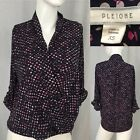 Pleione XS X Small Loose Hi Low Blouse Polka Dot Top Adjustable Sleeves C2 63