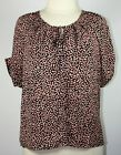 Ann Taylor Black Pink White Abstract Polka Dot Button Front Tunic Top Size M