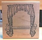 Art Impressions Wood mount Rubber Stamp INTERIOR WINDOW WITH CURTAINS P 1503