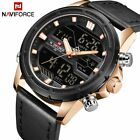NAVIFORCE Fashion Sport Men's Leather Military Waterproof Digital Quartz Watches