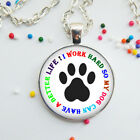 Pet Dog Paw Glass Necklace Pendant Dog Lover Gift Letter Jewelry