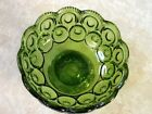 L.E. Smith Moon and Stars Green Small Compote Footed Bowl Candy Dish 6 1/4