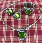 Silpada Peridot Colored Green Glass Ring Necklace And Earring Set Retired