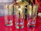 Vintage Drinking Glasses Gold Bands Swirl Design Three Mixing Glasses Beer Soda