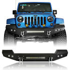 CLIMBER Front Bumper w 2x D Rings  4x LED Lights for Jeep Wrangler JK 2007 2018