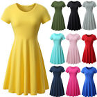 US Women Jersey Summer Short Sleeve High Waist Casual Party T-shirt Skater Dress
