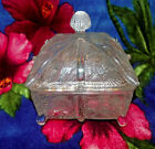 Vintage covered domed square pressed glass candy dish star pattern W/ feet