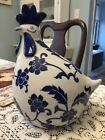 BLUE AND WHITE CHICKEN HEN ROOSTER CERAMIC Farmhouse French Country Decor