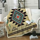 Geometric Throw Blanket Southwest Native American Aztec Sherpa Bed Sofa Cover