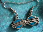 VINTAGE HARLEY DAVIDSON SILVER TURQUOISE DANGLE EARRINGS JEWELRY