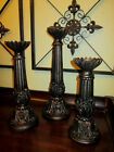 Set of 3 THREE Candlesticks for Pillar Candles Old World Candle Holders NEW