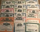 Mixed Lot of 100 Stock Certificates and Bonds At least 14 different varieties