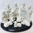 Rare Vintage Porcelain Christmas Nativity Scene 11 Piece Set Ivory Gold Accent