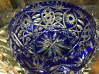 Cobalt Blue Crystal Bowl made by Bohemian Czech masters