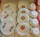Lot of 12 Anchor Hocking Fleurette 1950's Fire King ware Cups Saucers Bowls.
