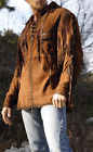 MENS NEW NATIVE AMERICAN BROWN GOAT SUEDE LEATHER FRINGES SHIRT