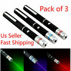 Pack of 3 Green + Blue Violet + Red Light Beam Powerful 5MW Laser Pointer Pen US