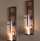 Wall Mount Candle Holders Sconce Set Wedding Gift Ideas Iron Metal Glass 2 PC