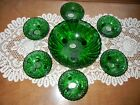 Forest Green Anchorglass 7 pc Dish Bowl Set 3 footed Hobnail Anchor Hocking  NEW