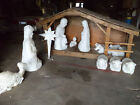 Outdoor Nativity Set ONE OF A KIND HAND MADE STABLE WITH CEDAR SHAKE ROOF UNIQUE