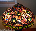 Tiffany Reproduction Peacock Stained Glass Lamp Shade Purple - 18