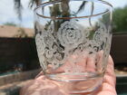 Vtg Libbey Rock Old Fashioned Glasses Rose Etching Pattern Gold Trim. Set of 4