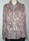 WESTBOUND Womens Wrinkle Free Animal Print Button Down Shirt Top Blouse Size M