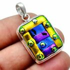 Dichroic Glass Solid 925 Sterling Silver Pendant Jewelry SP-7625