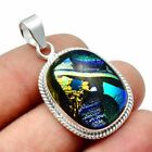 Dichroic Glass Solid 925 Sterling Silver Pendant Jewelry SP-7618