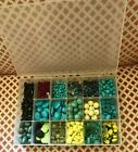 FULL BLUE AND YELLOW TURQUOISE BEADS BLACK ONYX GLASS GEMSTONE BEADS LOT