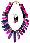 HUGE RARE PINK STRIPED AGATE STICK CLEOPATRAS NECKLACE WITH MATCHING EARRINGS