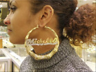 14K Gold Overlay Personalized any Name Bamboo Earrings 4 inches