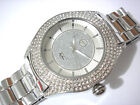 Silver Tone Metal Big Case & Band Techno Pave Men's Watch w Crystals Item 3532
