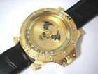 Gold Tone Metal Big Case Leather Band Men's Watch w Crystals Item 3330