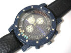 Blue Metal Big Case Leather Band Men's Watch w Crystals Item 3256