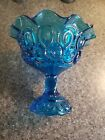 Vintage LE Smith Turquoise Blue Moon and Stars Compote Flared Scalloped Rim