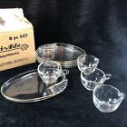 Vtg Parti-Ade Luncheon Plates Cups 8 pc Set Original Box 1940s USA Charm House