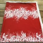 Vintage Christmas Tablecloth Red White Fringe Rectangle 84 x 51
