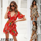 Womens Slim Wrap Mini Dress Deep V Neck Short Sleeve Boho Floral Beach Sundress