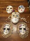 5 Ceramic Porcelain Face Wall Mask-Various Sizes and styles Harlequin Mardi Gras