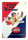 US SELLER, Speed The Victory Amoco tin metal sign shop wall decor