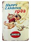 US SELLER, outdoor kitchen wall art Happy Landing 1944 Amoco tin metal sign