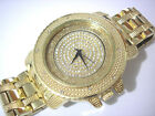 Iced Out Bling Bling Goldtone Spin Dial Techno Pave Men's Watch Item 3418