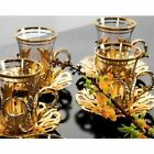 Set Of 6 Turkish Glass  Golden Tea Glasses Tea Serving Cups Saucers