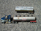Vtg Toy Metal Semi Truck Cab And Two Trailers Texaco And Gasohol