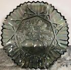 Smoke Gray Iridescent Carnival Glass Star Fruit Bowl Sawtooth 11 Vintage