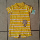 Child of Mine Carters Boys 12 Months Yellow White Stripe Collared Monkey Romper
