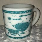 Hazel Atlas Kitchen Aids Milk Glass Mug Torquoise Vintage