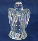 Fenton Angel Figurine Clear Glass Iridescent 6 inches Handpainted F Enoch