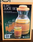 New Old Stock Vintage 5 Piece Juice Set Indiana Glass Decanter 4 Glasses Oranges